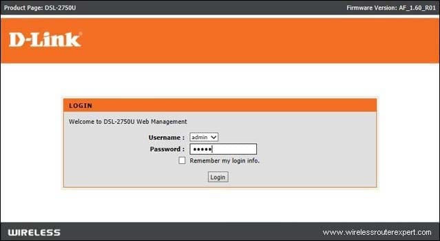 login dlink router