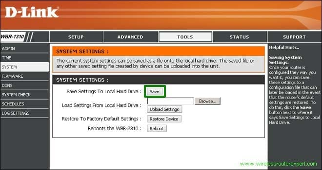save setting in dlink router