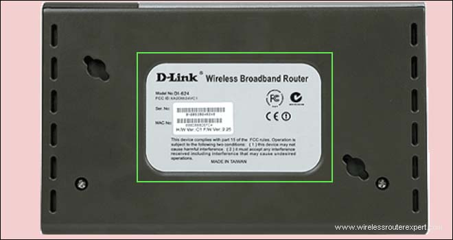 bottom of dlink router