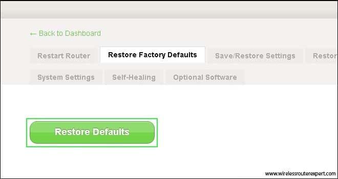 restore default in belkin
