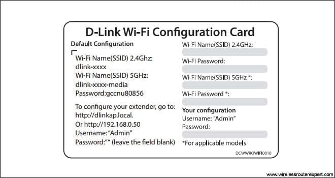 dlink extender Configuration card